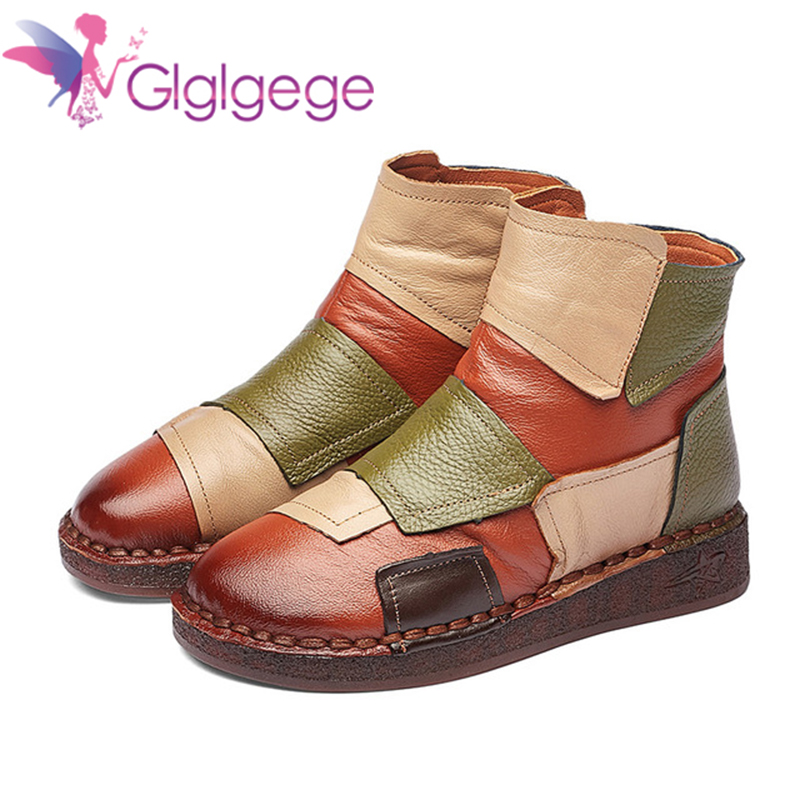 Promo Glglgege Mixed Color Flat Women Winter Boots 2019 Genuine Leather short plush casual women shoes warm fur snow ankle boots