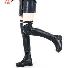 купить Thigh High Oxfords Shoes Women Stretchy Over The Knee Boots Round Toe Tall Shaft Long Fashion Sneakers Winter Warm Casual Shoes по цене 2829.3 рублей