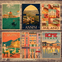 Retro viaje a Italia Roma lienzo pintura cuadros de pared vintage Kraft carteles recubierto pegatinas de pared decoración del hogar regalo