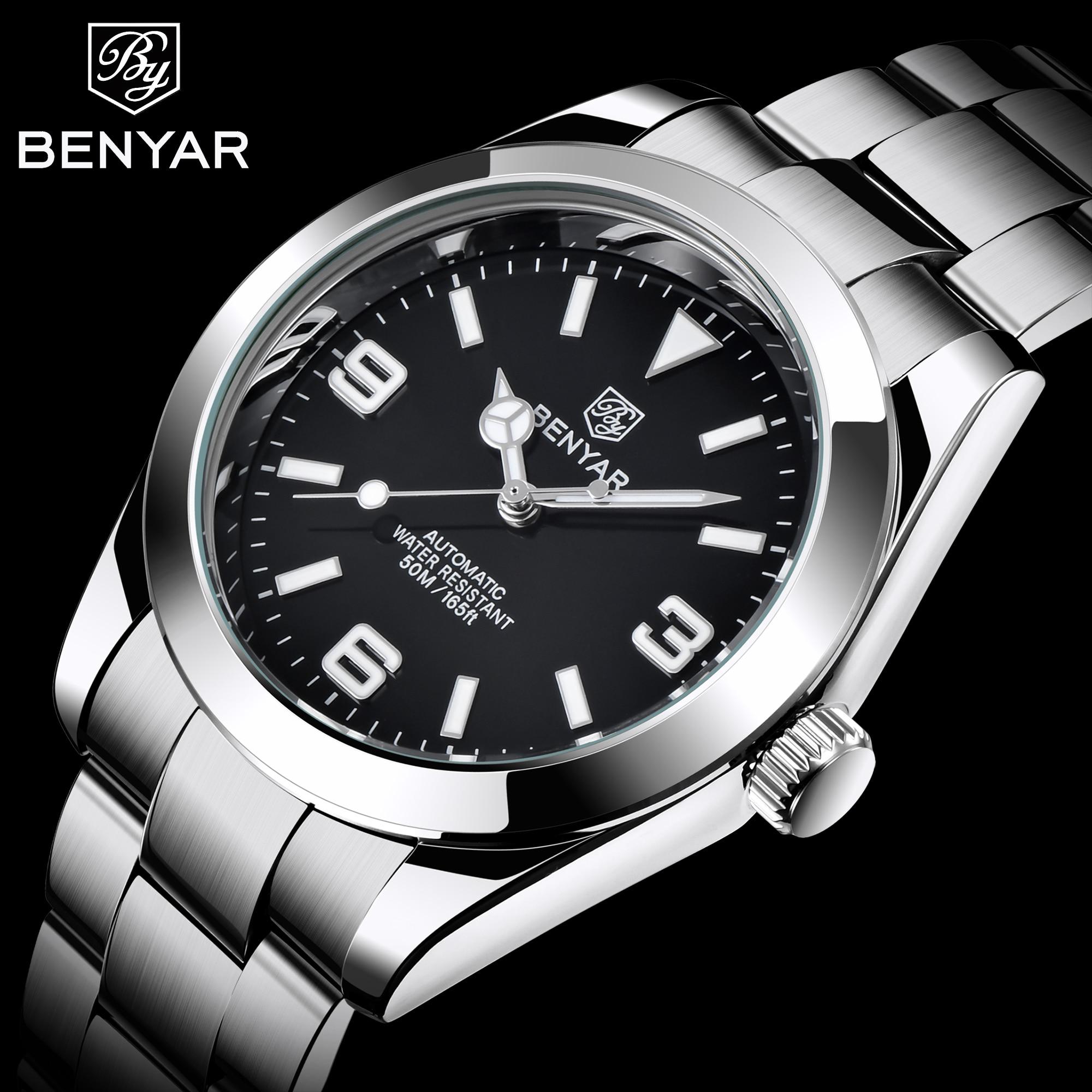 Benyar 2021 novo relógio mecânico automático masculino relógios de moda à prova dwaterproof água relógio esportivo reloj hombre