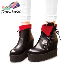 DORATASIA 33-47 Fashion lace-up High Platform Booties Ladies Height Increasing Ankle Boots Women 2019 High Wedges Shoes Woman