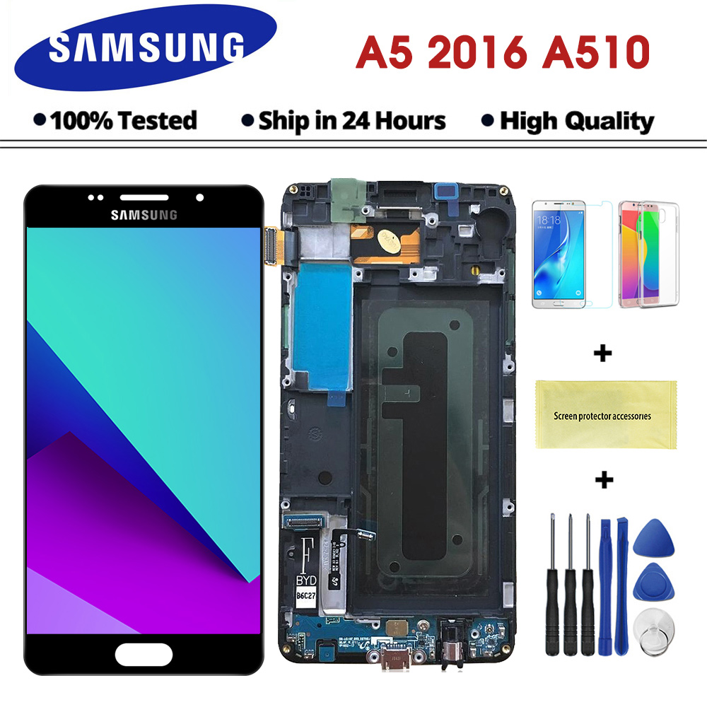 5.2'' LCD for Samsung A5 2016 LCD Display A510 A510F A510M SM-A510F Touch Screen Digitizer Replacement A510F Display With Frame(China)