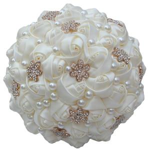 Image 3 - WifeLai A 6 Styles Ribbon Rose Wedding Bouquet Handmade Rhinestone Holding Flowers Bridal Bridesmaid Bouquet Pearl Buque Noiva