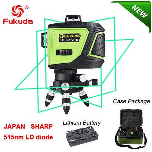 Фукуда бренд 12 линии 3D MW-93T-3G лазерный уровень наливные 360 горизонтальный и вертикальный крест супер мощный зеленый лазер луч линии - Цвет: 3GX 515nm green