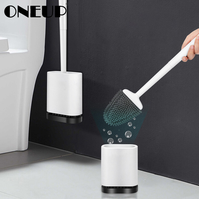 ONEUP Silicone Toilet Brush Holder For Toilet WC Bathroom Accessories Wall Mount Cleaning Brush TPR Rubber Head Household Items