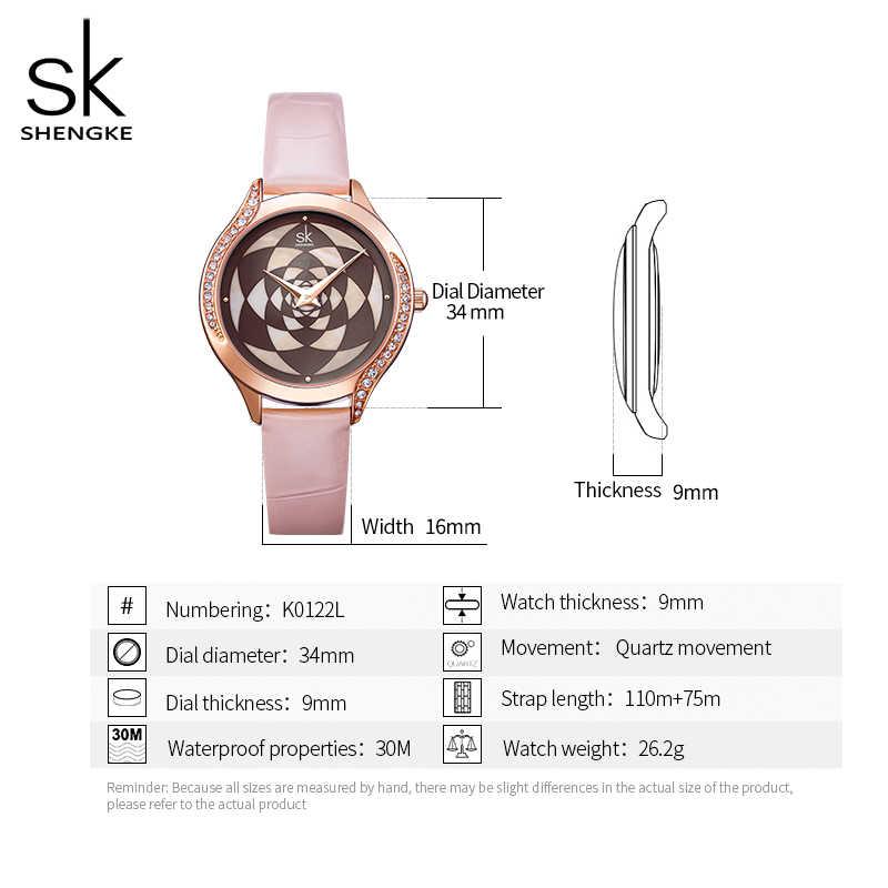 Marca ShengKe Reloj de pulsera de cuarzo de cuero resistente al agua para Mujer Reloj de pulsera de cristal de moda para Mujer Reloj de regalo para Mujer