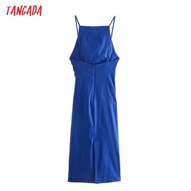 Tangada Fashion Blue Pleated Party Dresses For Women 2021 Backless Female Cotton Dress 3H600 6