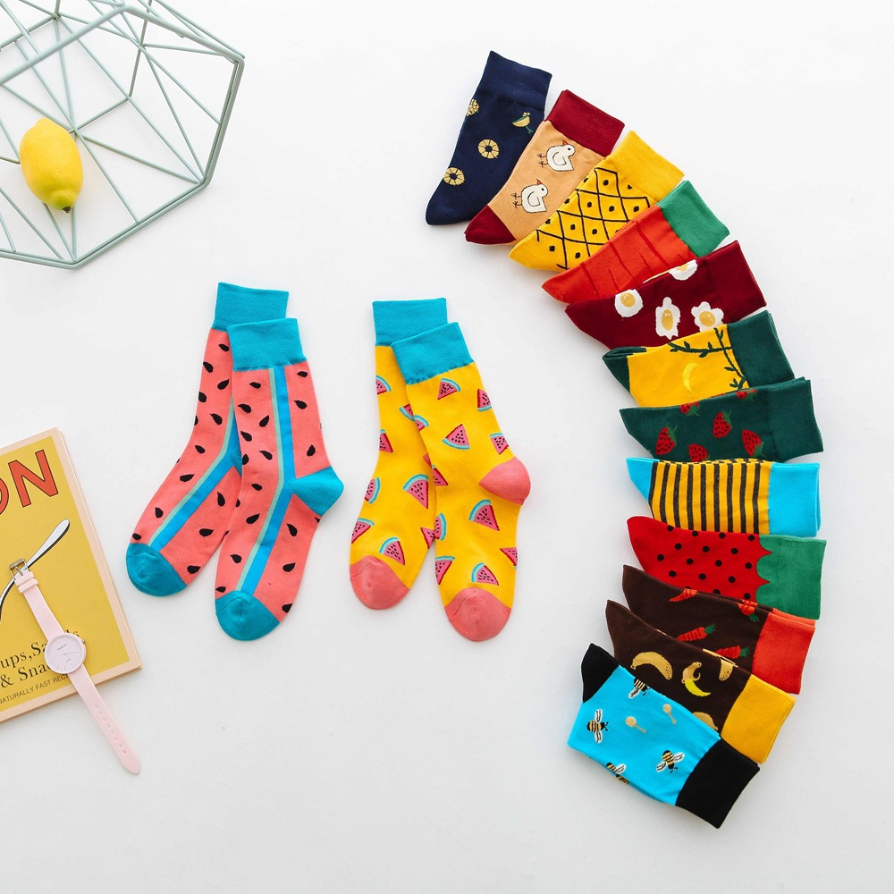 Fashion Cute Soft Novelty Cotton Women Socks Colorful Cartoon Kawaii Funny Happy For Girl Gift