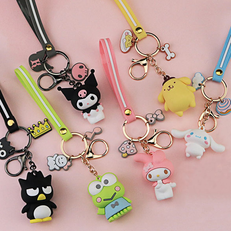 Cartoon Pom Pom Purin Keychain PVC Key Chain Bad Badtz Maru Cinnamoroll Kuromi Cute Funny Novelty Personalized Pendant Jewelry