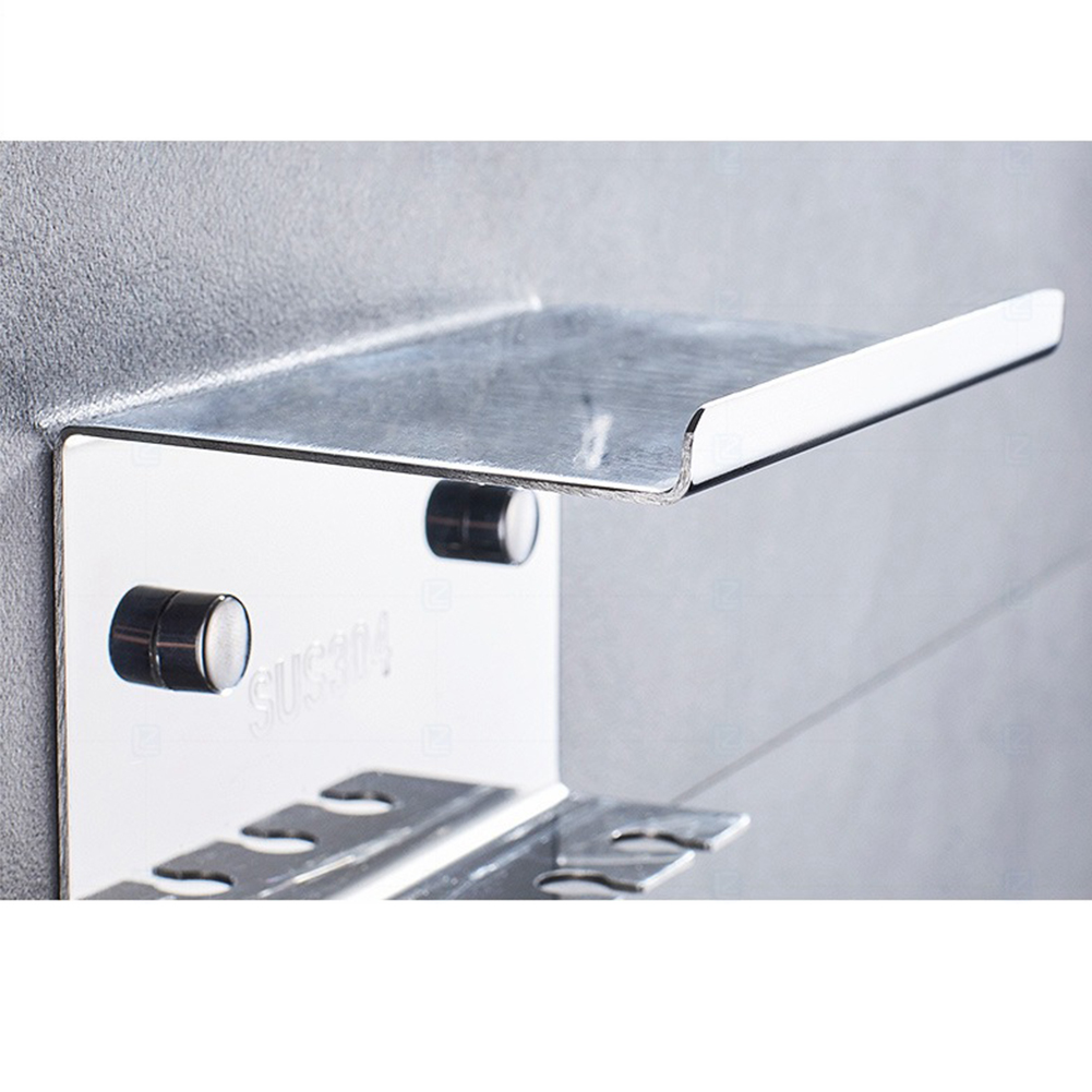 5 Slots No Drilling Toothbrush Holder Toilet Supplies Stainless Steel Wall Mount Household Self Adhesive Storage Rack Hotel