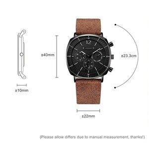 Image 2 - Montre de sport à Quartz suisse pour hommes, bracelet en cuir, étanche, avec horloge en acier inoxydable, nouveau calendrier, mode