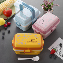 Food Container Lunch Box For Kids Food Grade Bento Box PP School Fashion Snack Box Kitchen Microwavable Storage Box With Handles smish002 fashion sh with box