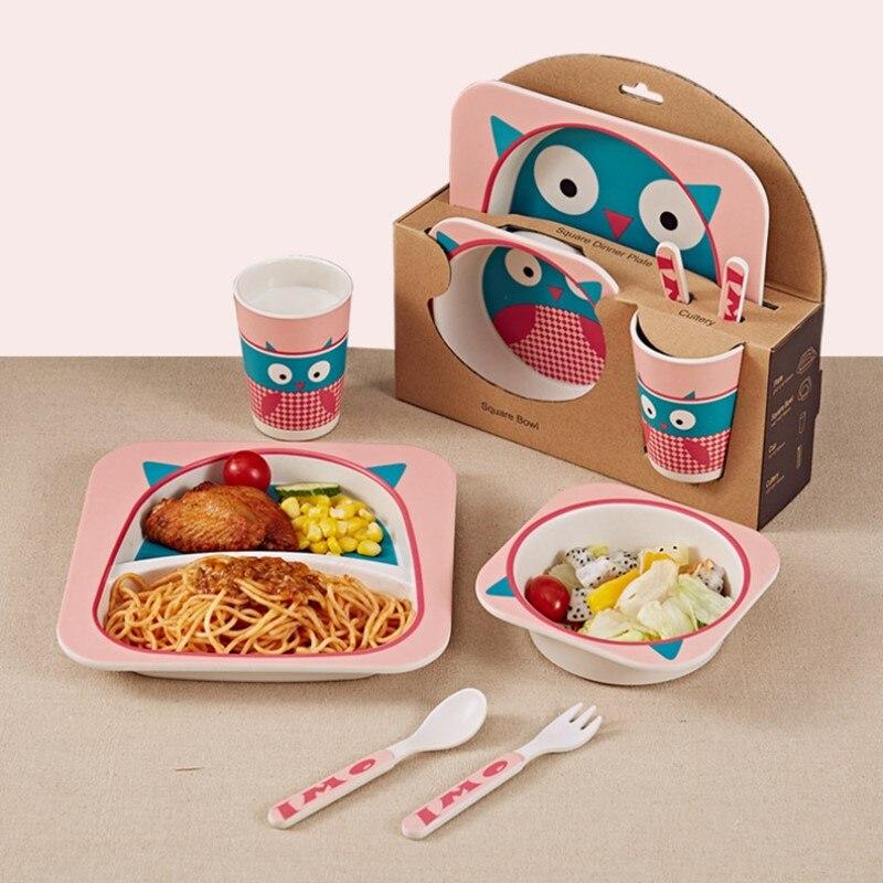 5pcs/set Cartoon Animal Baby Plate+Bow+Fork+Cup Kids Dinnerware Feeding Set Bamboo Fiber Baby Children Container Tableware Set|Dinnerware Sets| |  -