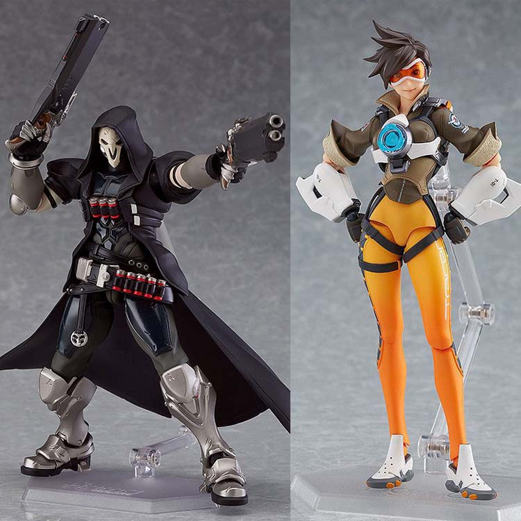 In Stock 15cm Overwatcher Figma393 # Grim Reaper Figma 352 Tracer PVC Action Figure Movable Collection Toy Gifts Doll