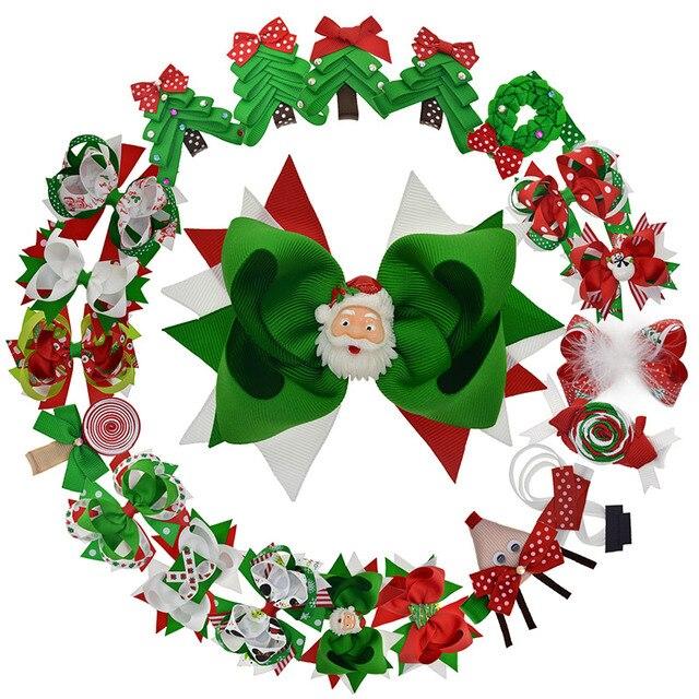 الفتيات عيد الميلاد فيونكات شعر كليب مع شجرة سانتا ثلج إكليل الرنة الحلوى الاطفال حفلة عيد الميلاد القوس هدية الكريسماس إكسسوارات الشعر