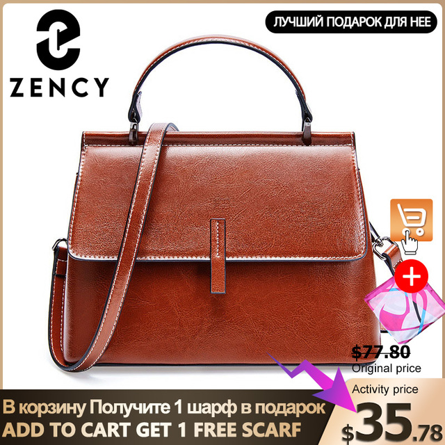 Zency 100% の本革ブラウン女性トートバッグ小フラップ毎日カジュアルショルダーメッセンジャーバッグ黒グレーハンドバッグ