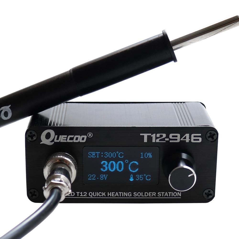 Szybkie ogrzewanie STC T12-946 Mini stacja lutownicza elektroniczny 1.3 cal sterownik cyfrowy z P9 uchwyt z tworzywa sztucznego spawanie żelaza porady