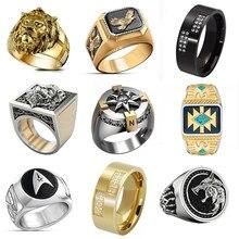 2020 Мода в винтажном стиле; В стиле «панк-рок» властный Лев Головы кольца для мужчин в стиле «хип-хоп» золотистого цвета Лев палец кольцо Роск...
