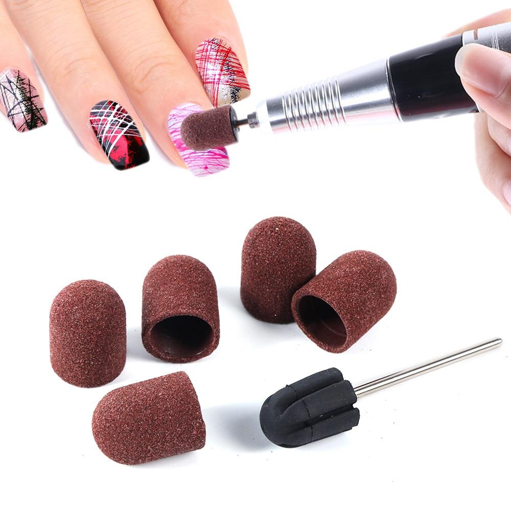 6pcs/set Nail Files Sanding Caps UV Polish Remover 150 Grip Sanding Bands Block Pedicure Manicure Nail Art Tool Accessory TR721