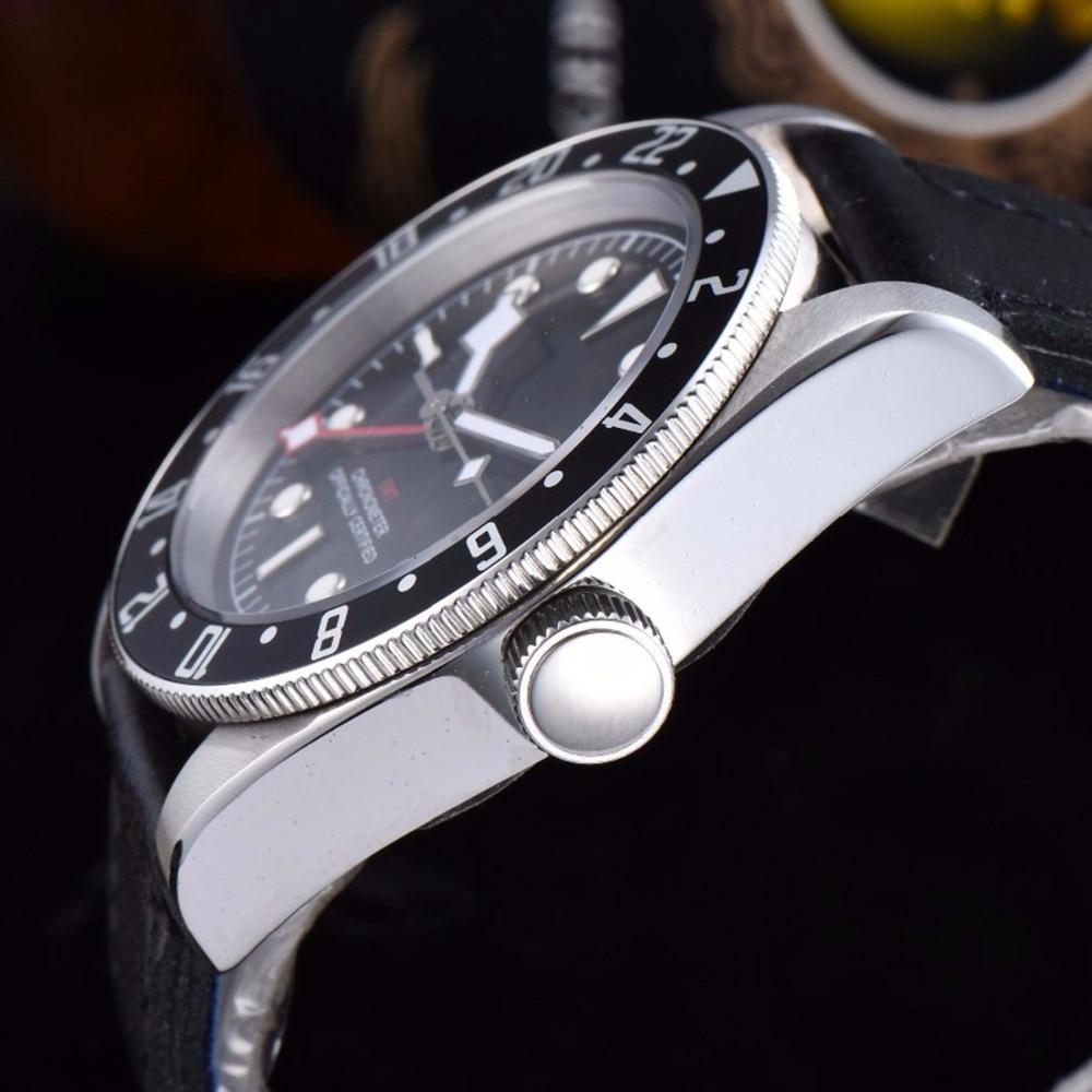 Luxury top Brand Watch 41MM Corgeut Mechanical men Watch sapphire GMT Men Automatic Military Sport calendar Clock Leather