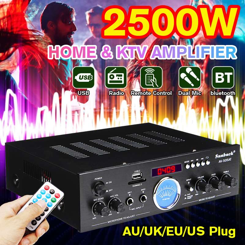 2500W Home Theater Amplifiers Bluetooth 2.0 Channel Audio Stereo Power HiFi Amplifier Surround AMP Mixer USB FM