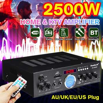 2500W Home Theater Amplifiers bluetooth 2.0 Channel Audio Stereo Power HiFi Amplifier Surround AMP Mixer USB FM 1200w 5 1 channel professional high power home theater bluetooth professional heavy bass av power amplifier 220 volt home