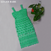 LEGER BABE Spaghetti Strap Rayon Bandage Dress Green Bodycon Vestidos Hollow Out Patchwork Women Cocktail Party Dresses