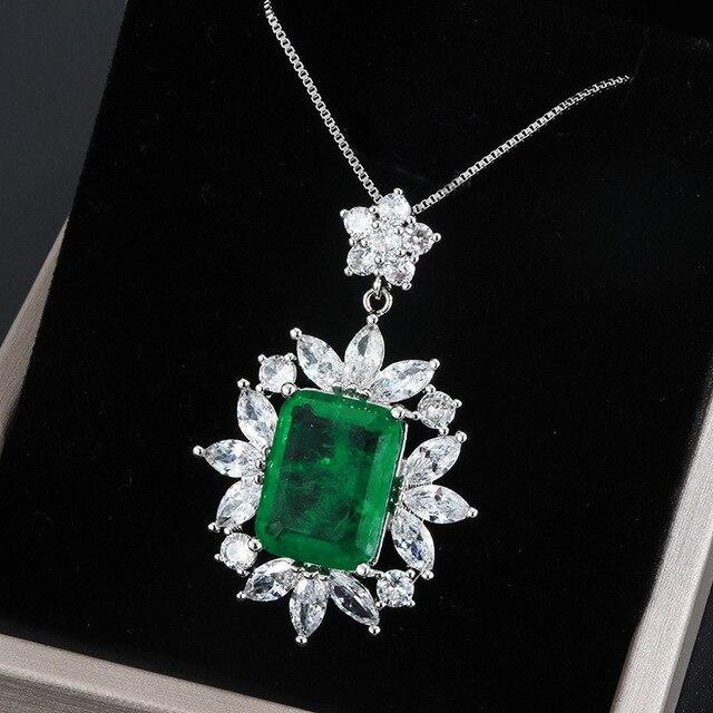 Rainbamabom rétro 925 solide en argent Sterling créé Moissanite émeraude pierre gemme mariage pendentif collier Fine bijoux en gros