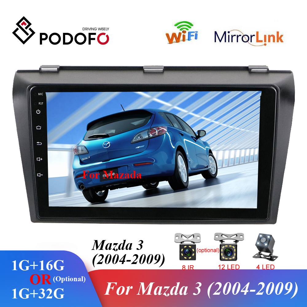 Podofo 2 din 9 2.5D Car Multimedia Player Android Radio Stereo WIFI GPS Quad Core Auto Audio Radio Player for Mazda 3 2004-2009 image