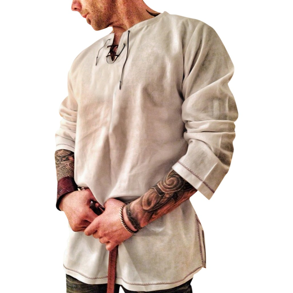 Men Shirt Long-Sleeve Hemp Retro New-Style Fashion Pure-Cotton Men's And Camisas Top title=