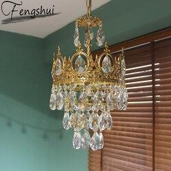Nordic miedzi kryształowe lampy wiszące oświetlenie Glod lampa wisząca jadalnia salon sypialnia Hotel Home Decor lampa wisząca w Wiszące lampki od Lampy i oświetlenie na