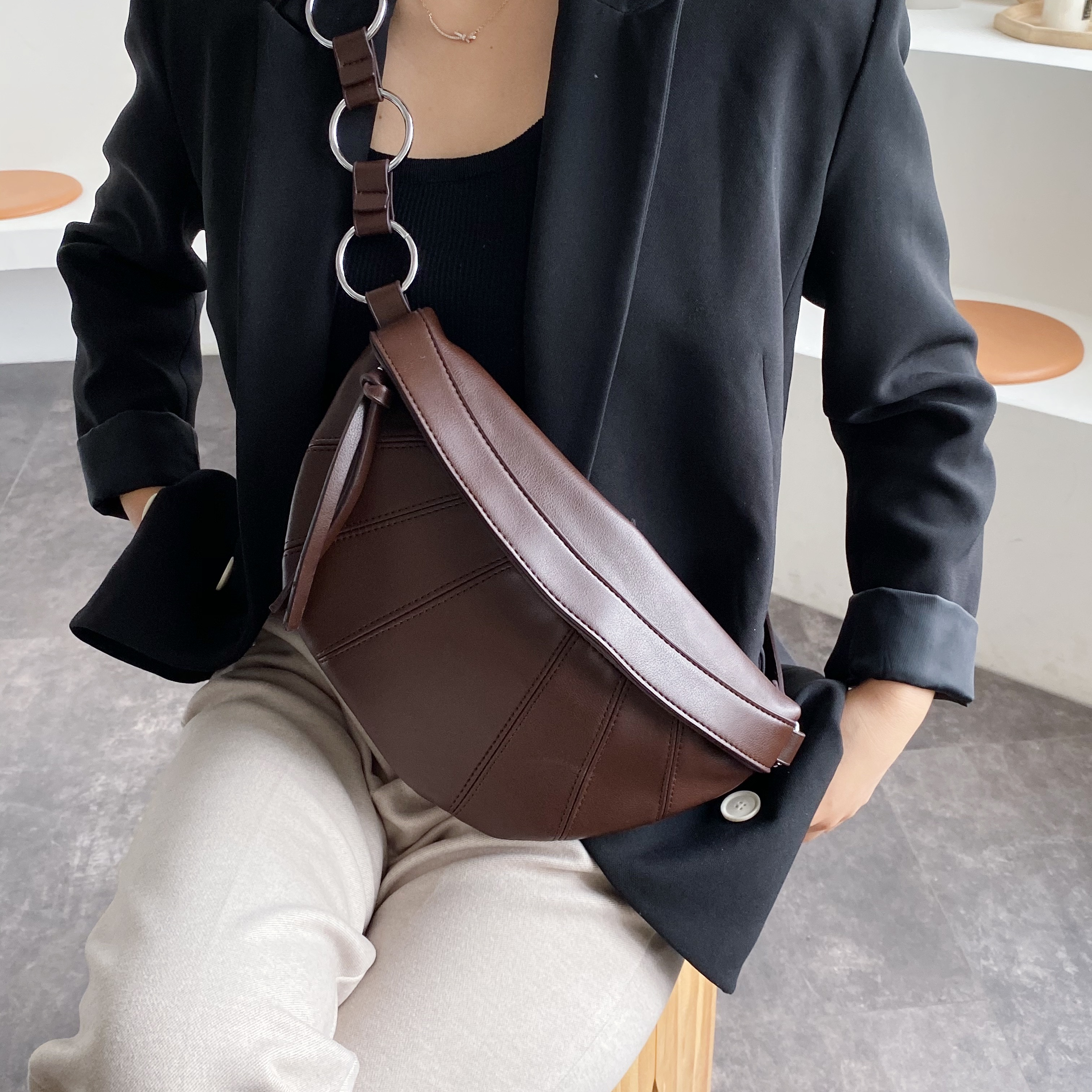Vintage PU Leather Crossbody Bags For Women 2020 Small Solid Color Spliced Shoulder Messenger Bag Lady Chest Handbags