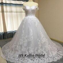 Vestido de novia muestra Real Apliques de encaje vestido de baile vestido de novia con cola de 1 m