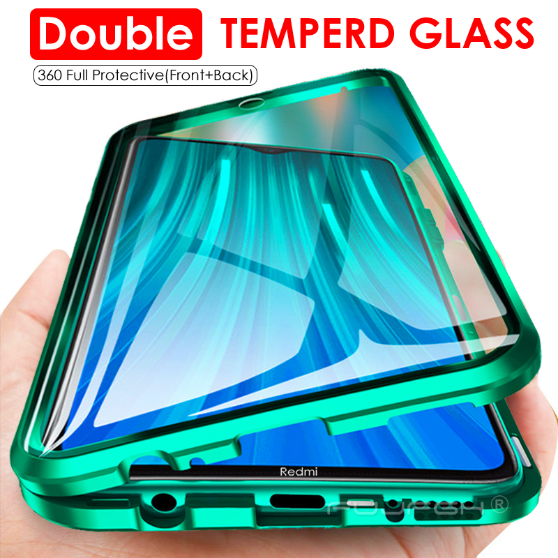 Double Sided Tempered Glass Magnet For Xiaomi Redmi Note 9S 8 7 K20 K30 Pro 8 8A Mi 9T 10 Pro 360 Full Protection Flip Cover