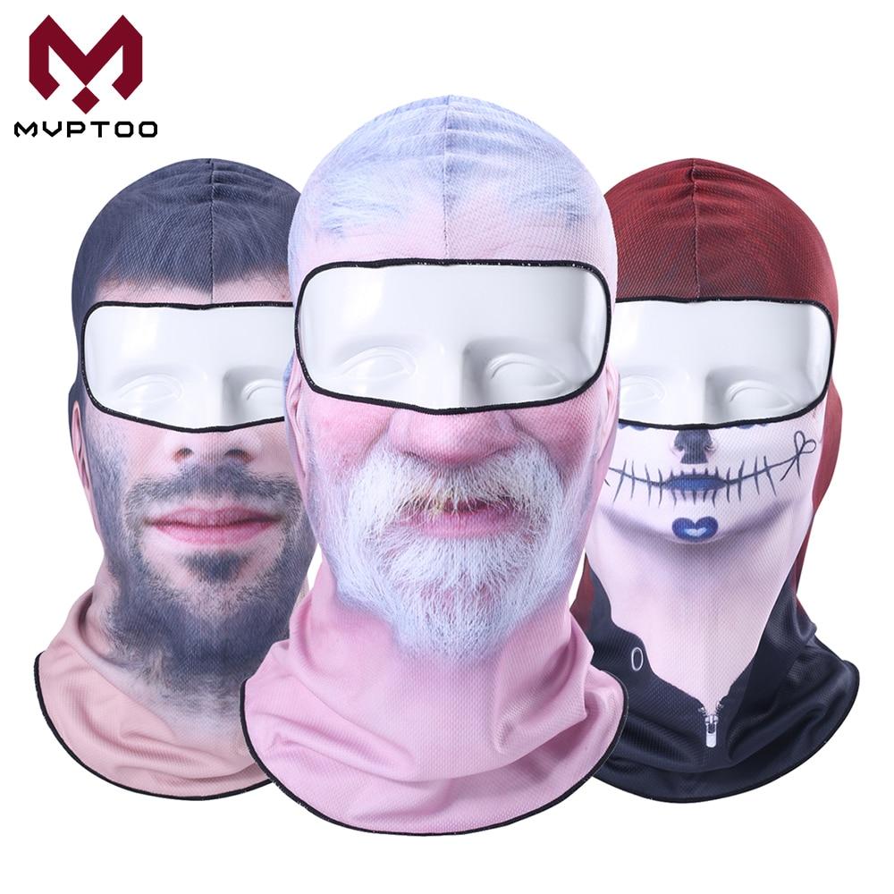 3D Beard Clown Balaclava Old Man Funny Face Mask Motorcycle Moto Ski Snowboard Hat Helmet Liner Biker Full Face Shield Cap Men
