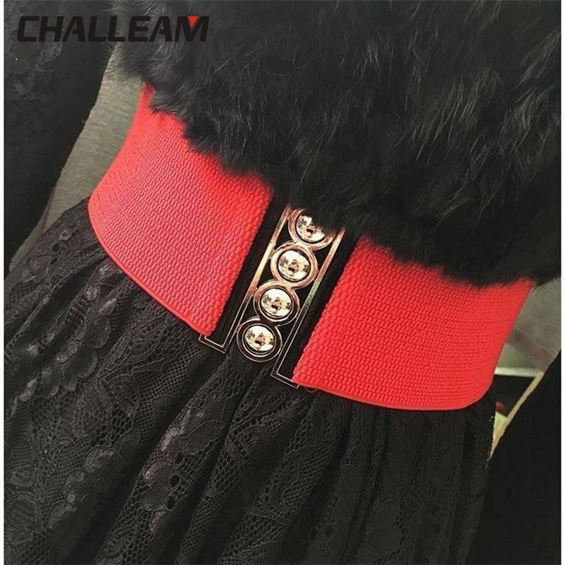 Fashion Stretch Wide Belt Women Designer Cinch Belt For Dress Female Luxury White Waistband Elastic Red Waist Cummerbund 19