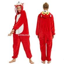 2019 Halloween Adulto Anime Pajamas Sets Cartoon Sleepwear Women Flannel Animal Panda Unicorn Winter Warm Hooded