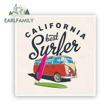 EARLFAMILY 13cm x for California Surf Surfing RV VAN 3D DIY Fine Decal Vinyl JDM Bumper Trunk Truck Graphics Accessories