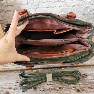 Image 4 - 2019 Nieuwe vrouwen Handtas Vintage Echt Lederen Dames Schoudertassen Luxe Grote Capaciteit Tote Zakenreis Messenger Bag