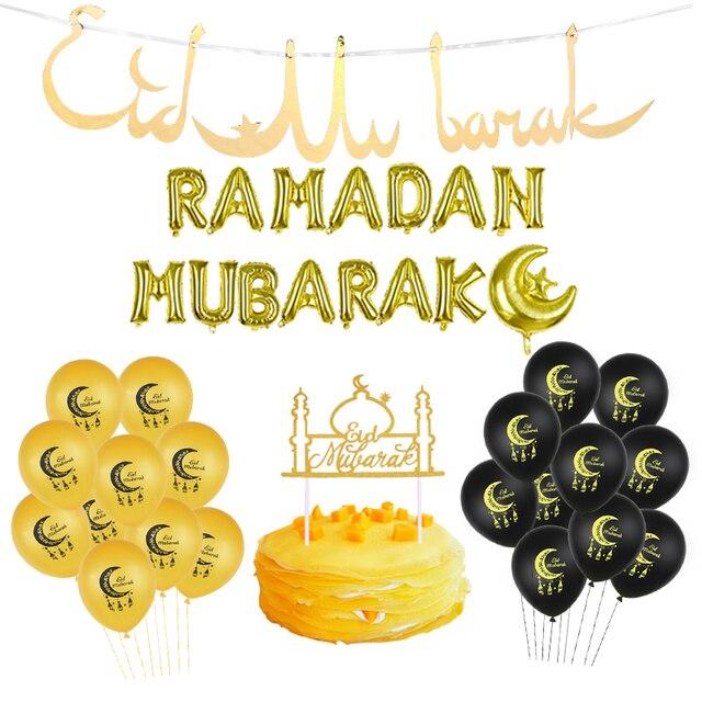 Eid Mubarak dekor lateks balonlar ve kağıt afiş mutlu Eid ramazan yeni yıl İslam müslüman festivali dekorasyon ramazan malzemeleri