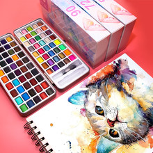 Yan song 50/72/90/100 Colors Solid Watercolor Paints Set Basic Neone Glitter Watercolor Paint for Drawing Art Paint Supplies