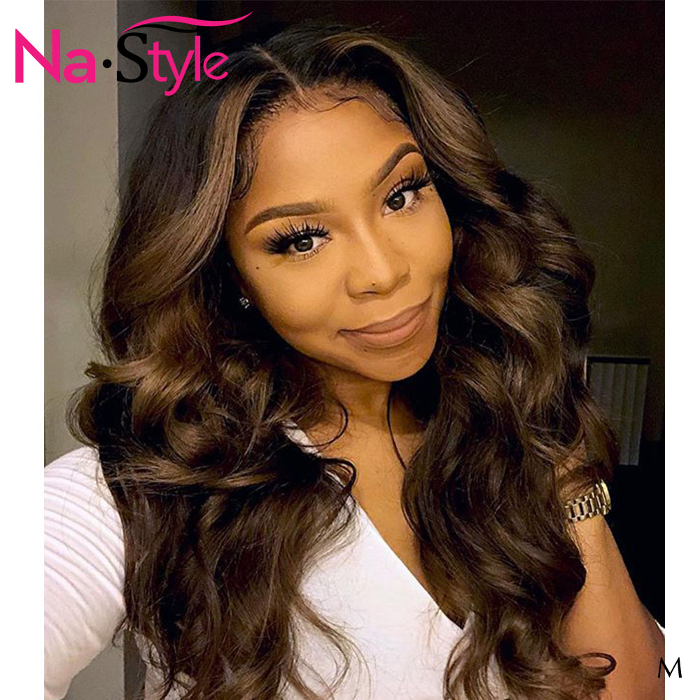 Ombre Human Hair Wig Glueless Lace Front Human Hair Wig 13x6 Lace Frontal 1B/4 Body Wave Wig Pre Plucked With Baby Hair 130 Remy