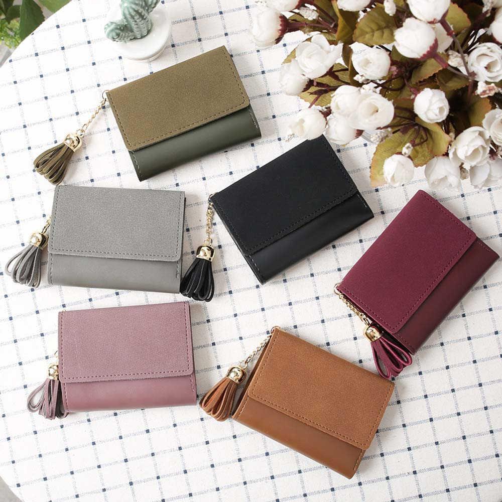 Mini portfel z frędzlami kobiet modna torebka kobiet krótki studentów urocza portmonetka mały portfel wysokiej jakości małe kobiece 816