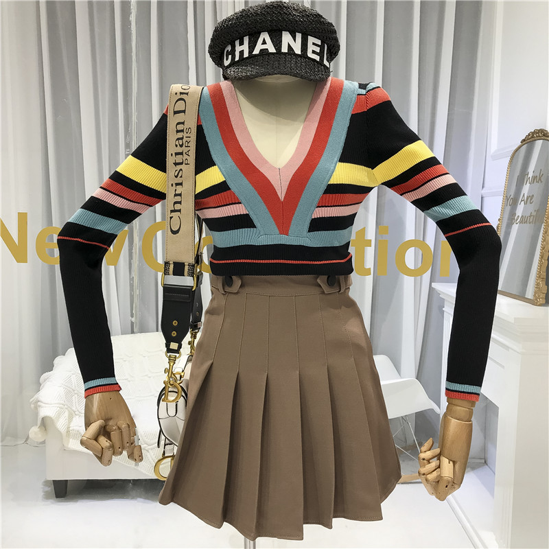 Deep V-Neck Women Full Sleeve Sweater Striped Sexy & Club Knitted Sweater with Cut Women Designer Clothing women top korean