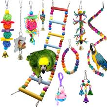 PipiFren 10 Packs Bird Perch Toys And Parrot Stand Swing Cockatiel Toys Accessories african grey parkiet speelgoed