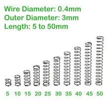Diâmetro do fio 0.4mm diâmetro exterior 3mm comprimento 5mm a 50mm mola de compressão retorno pequena