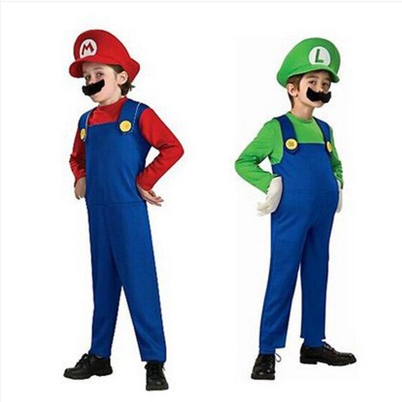 Super Mario Luigi laste ja täiskasvanute tegelaskuju kostüüm / punane ja roheline variant 1