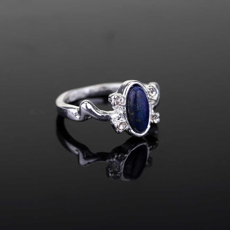 Vampire Diaries yüzük Elena Vintage Punk yüzük Lapis Lazuli mavi kristal film takı günışığı güneş koruma kadın hediyeler