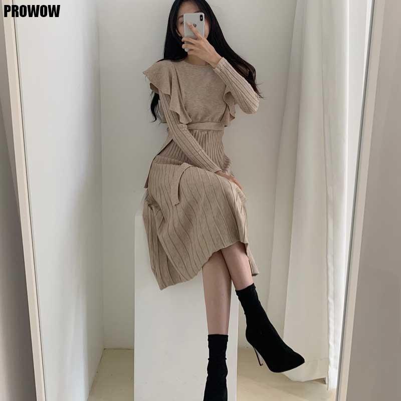 Uma peça de malha camisola vestido coreano feminino babados cintura vestidos 2020 outono inverno das mulheres camisola knitt vestido midi