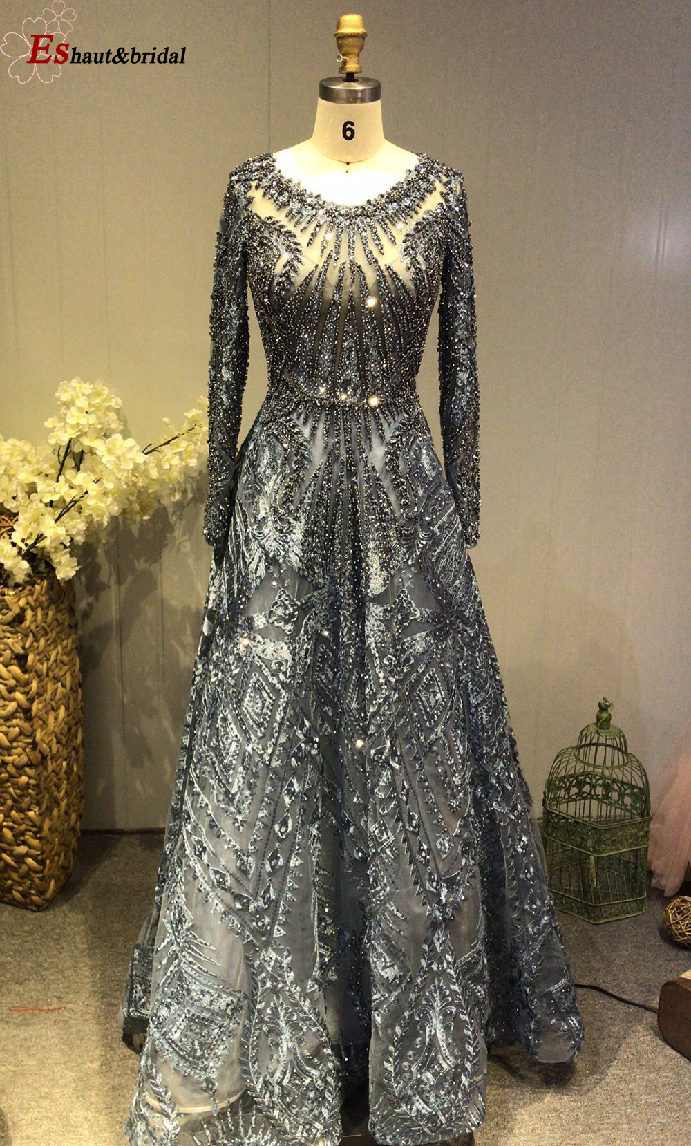 2019 O-Neck Crystal Handmade Evening Dress Long Sleeves Full Lace Luxury Luxury Formal Party Gowns